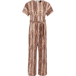 Girls brown snake print plisse jumpsuit