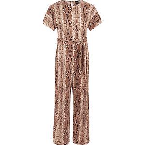 Girls brown snake print plisse jumpsuit