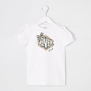 Robe t-shirt RI blanche à volants mini fille