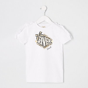 Mini - Witte T-shirtjurk met RI-logo en ruches voor meisjes