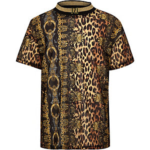 Girls brown baroque leopard mesh T-shirt