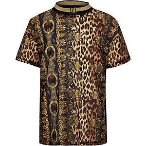 T-shirt en tulle à imprimé léopard baroque marron pour fille
