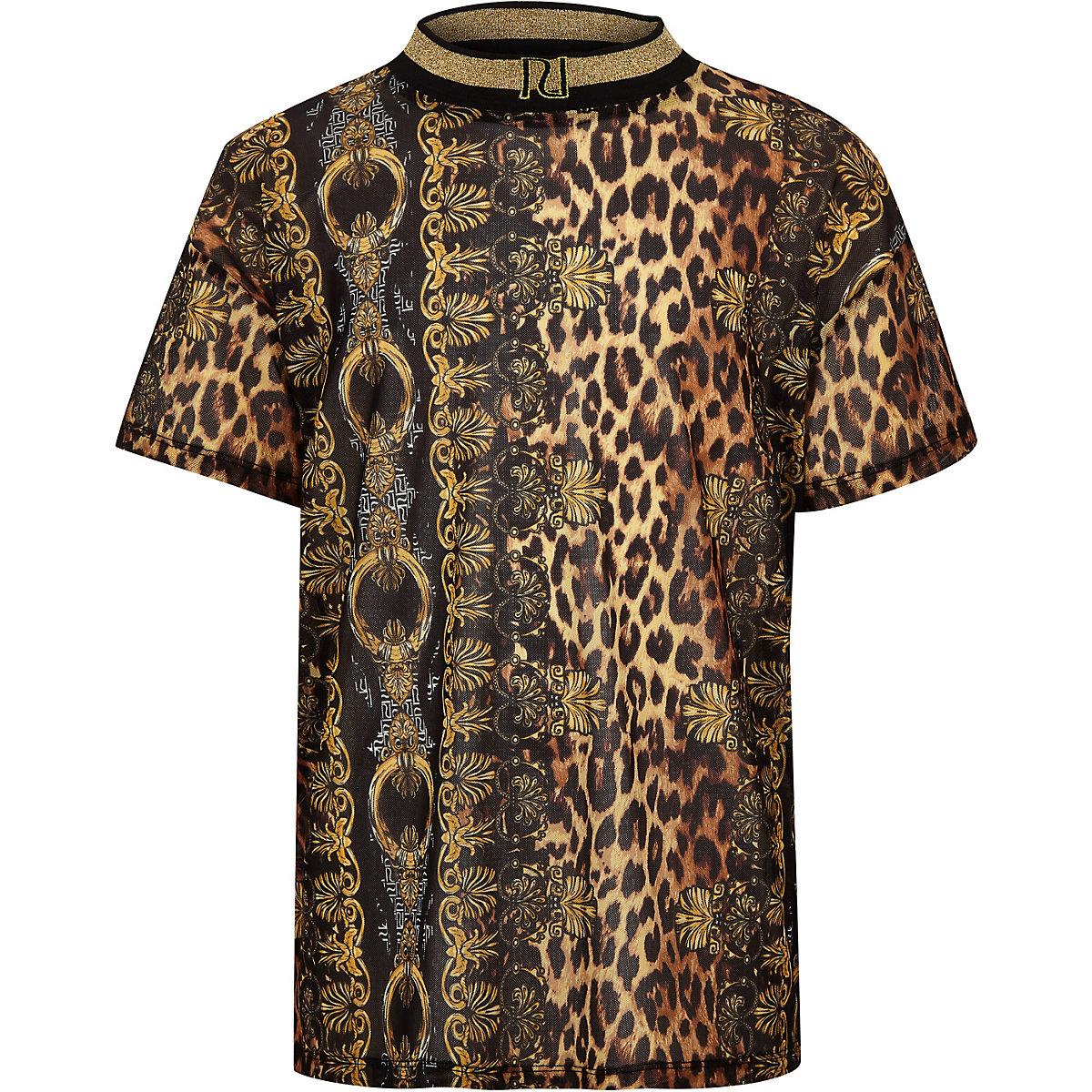 Girls brown baroque leopard mesh T-shirt