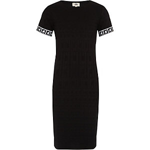 Girls black RI monogram dress