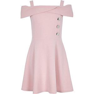 Robe Bardot en néoprène rose pour fille
