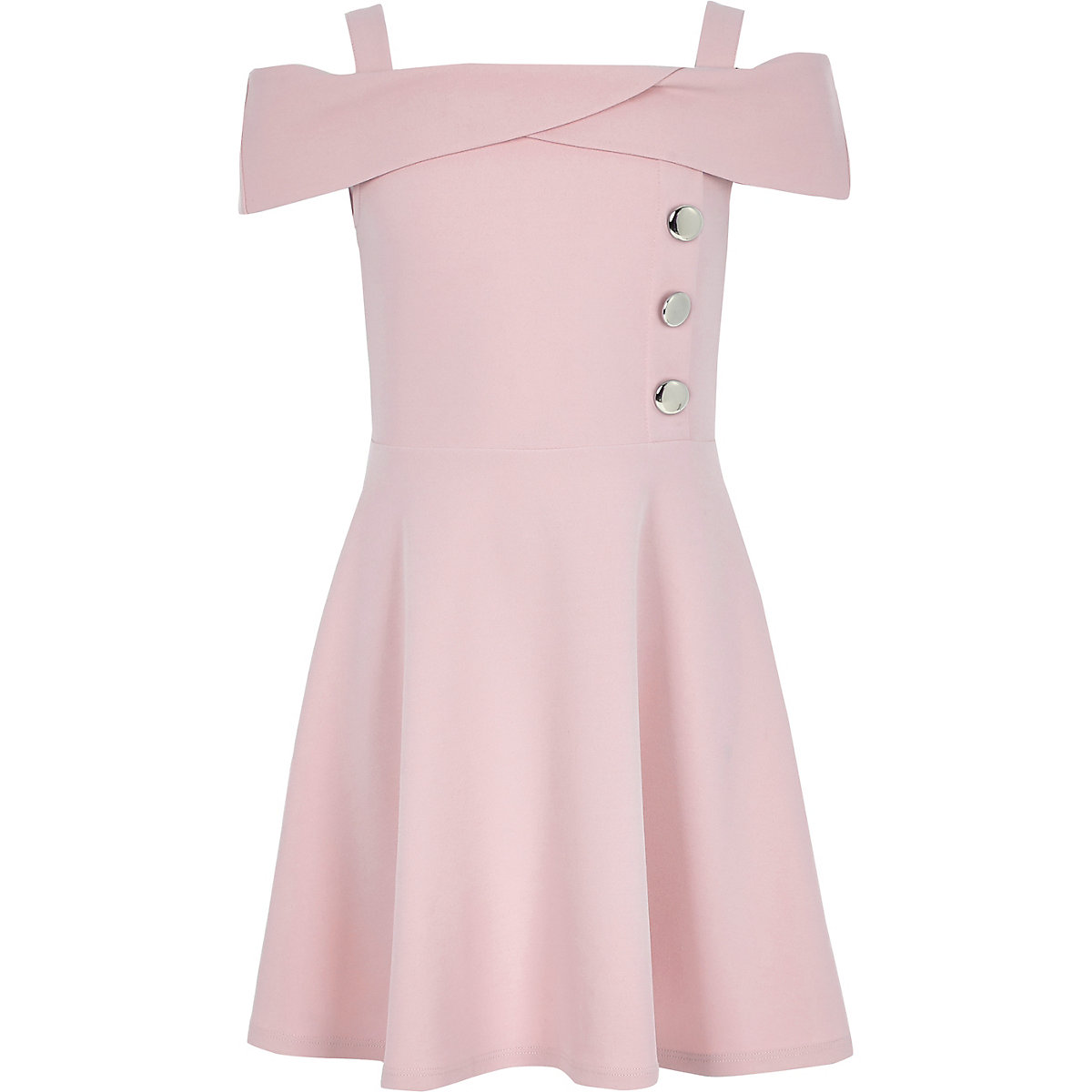 Girls pink scuba bardot dress