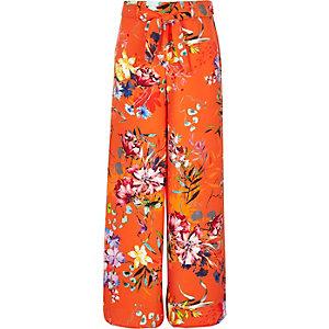 Oranje gebloemde broek met wijde pijpen voor meisjes