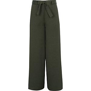 Pantalon kaki noué à la taille pour fille