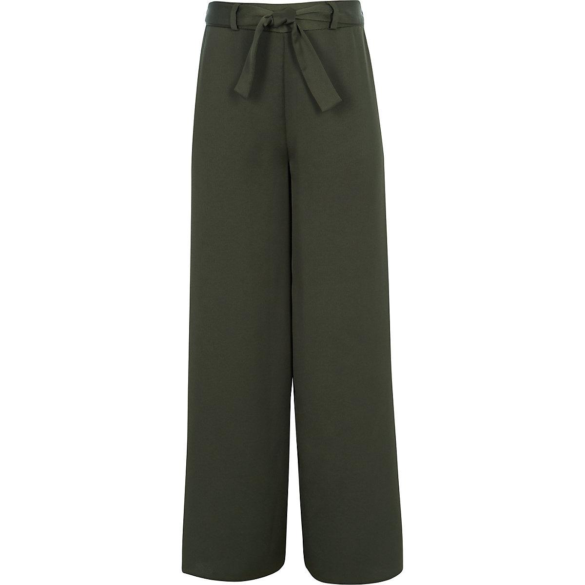Girls khaki tie waist trousers