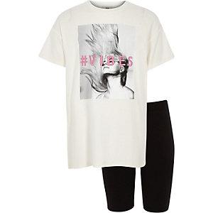 Ensemble avec t-shirt à inscription « #vibes » blanc pour fille