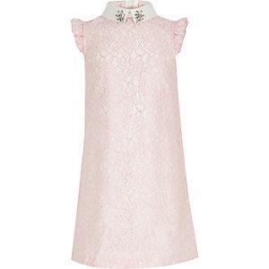 Robe de gala en dentelle rose pour fille
