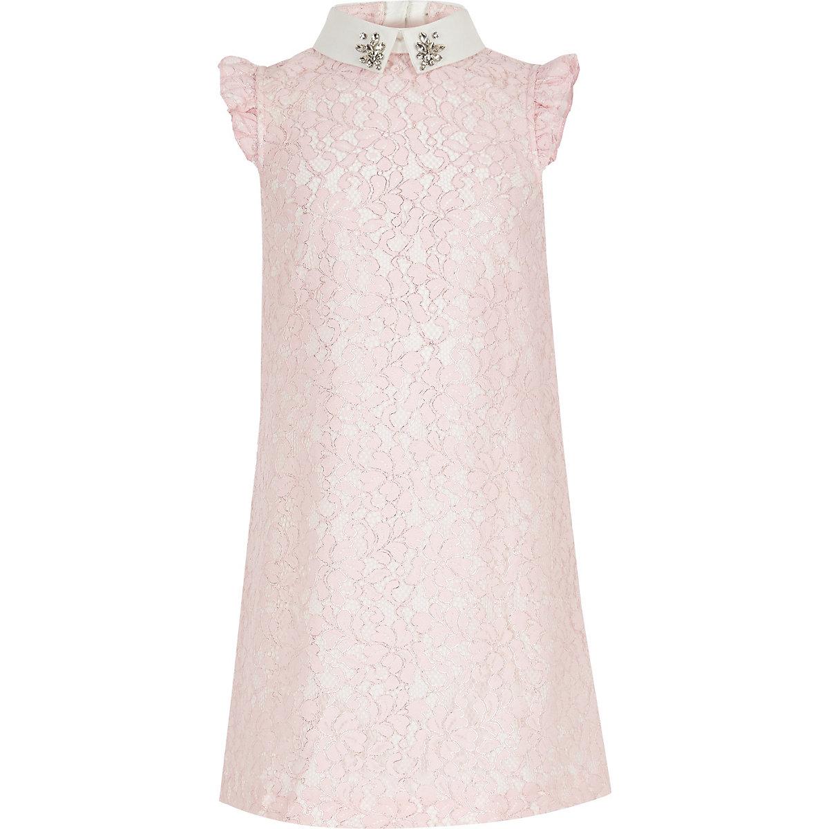 Girls pink lace prom dress