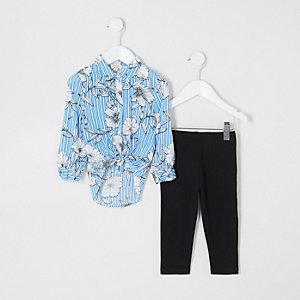 Mini - Outfit met blauw gestreept overhemd met bloemenprint voor meisjes