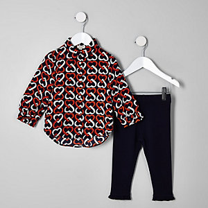 Mini girls navy heart shirt outfit