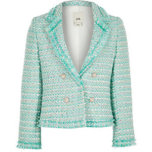 Girls green boucle blazer