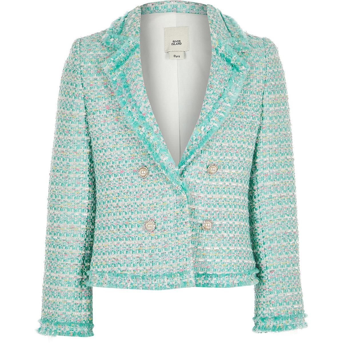 Girls green boucle blazer