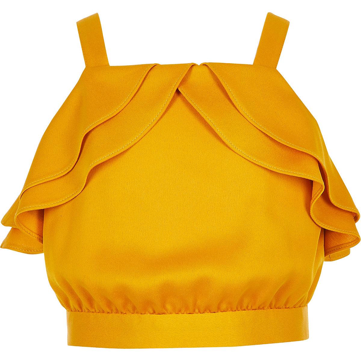 Girls yellow frill crop top