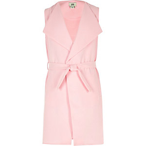 Girls pink sleeveless duster jacket