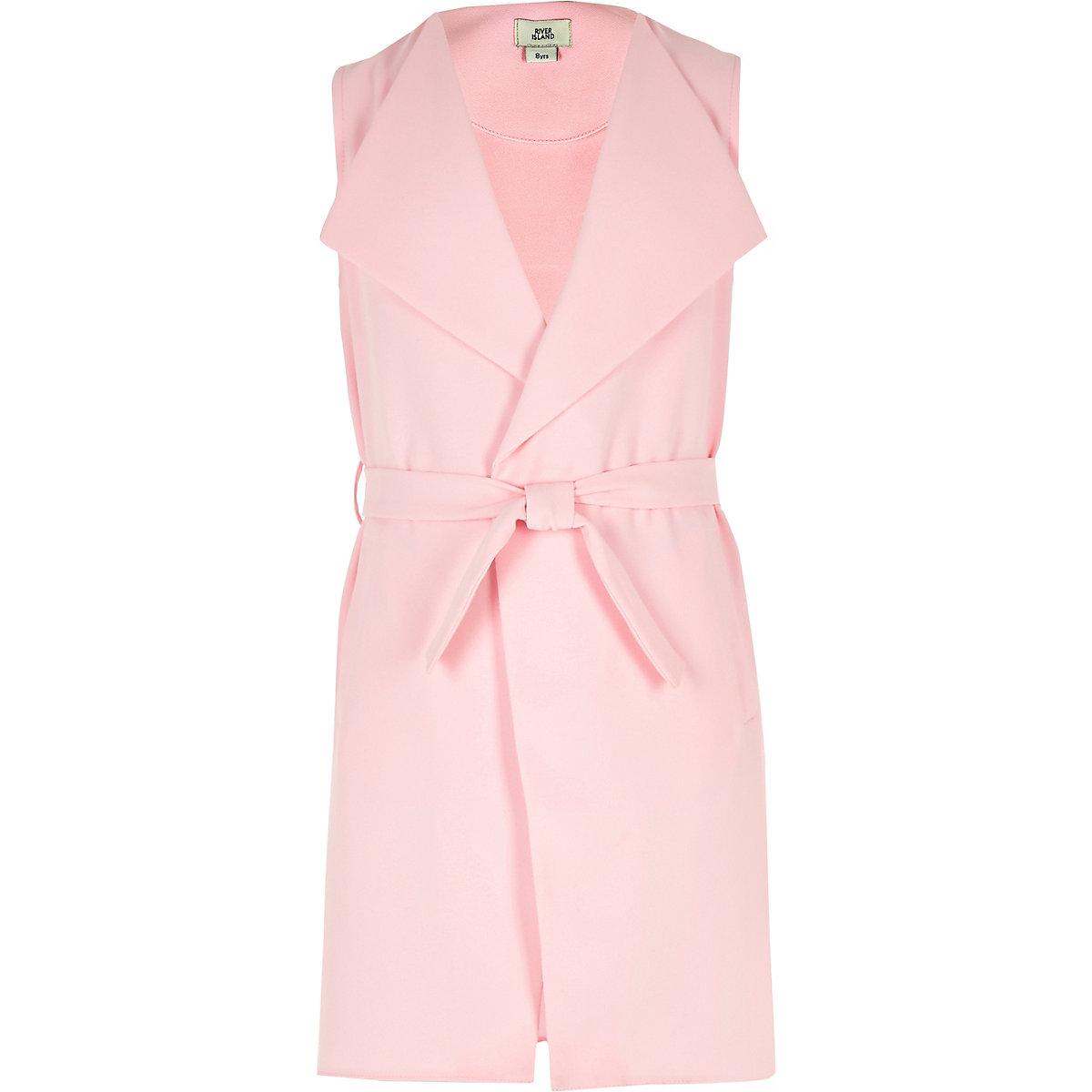 Girls pink sleeveless duster jacket