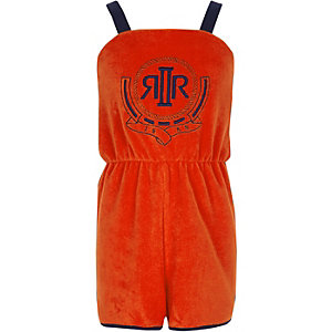 Girls orange RI towelling playsuit