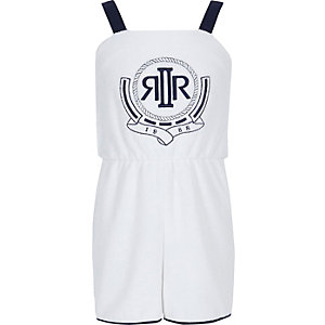 Girls white RI towelling romper