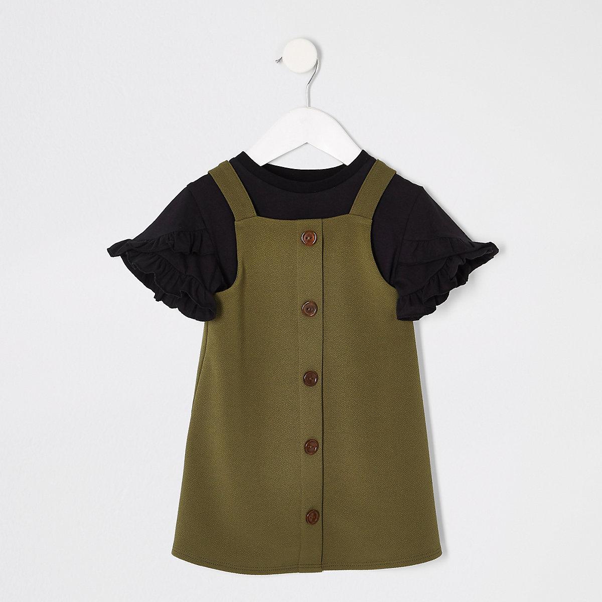 Mini girls khaki pinafore dress outfit