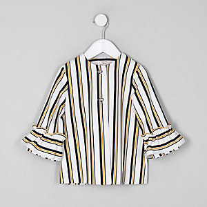 Mini girls navy stripe frill jacket
