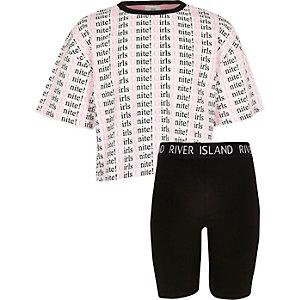 T-shirtoutfit met unite-print voor meisjes