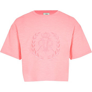 Girls pink RI crop top
