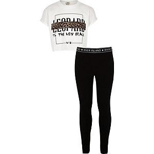 Ensemble avec t-shirt imprimé léopard blanc pour fille