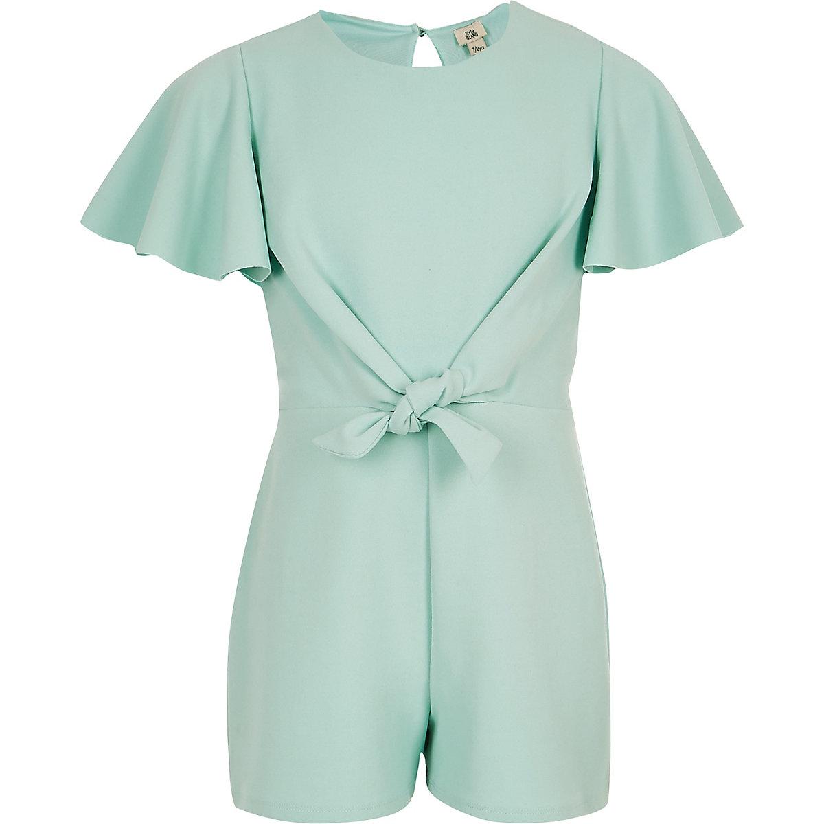 Girls green tie front playsuit