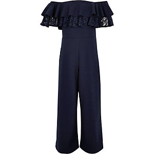 Girls navy bardot frill lace jumpsuit
