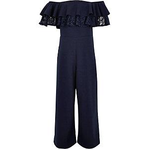 Girls navy bardot frill lace jumpsuit