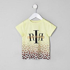 T-shirt à imprimé RI léopard blanc pour mini fille