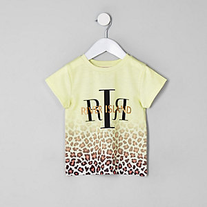 Mini - Wit RI T-shirt met luipaardprint voor meisjes