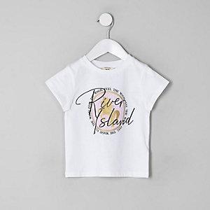 Mini - Wit T-shirt met RI-logo en eenhoornprint voor meisjes