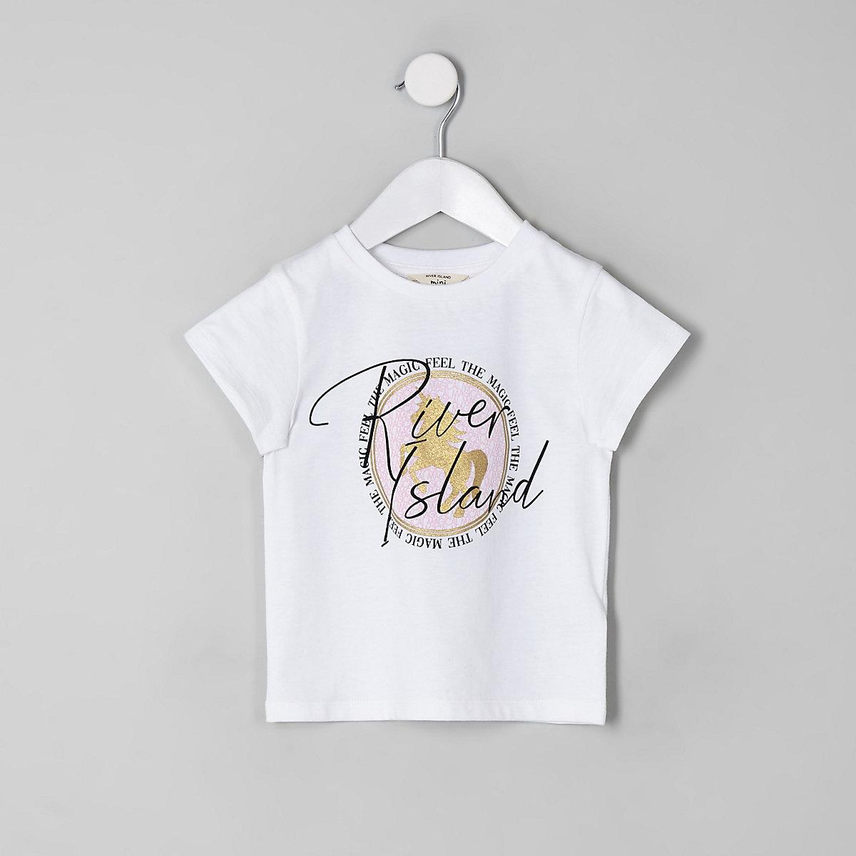 Mini girls white RI unicorn T-shirt