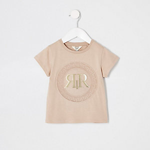 Mini girls beige RI embossed T-shirt