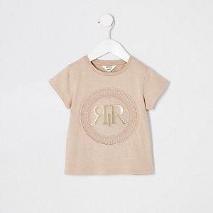 Mini - Beige T-shirt met RI-logo in reliëf voor meisjes