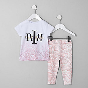 Mini - Outfit met roze T-shirt en slangenprint voor meisjes