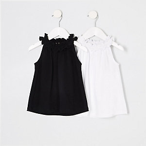 Mini girls black trapeze top multipack