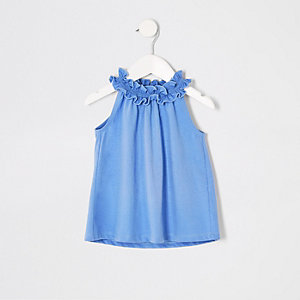 Mini - Blauwe A-lijntop voor meisjes