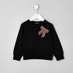 Mini - Zwart sweatshirt met strik en luipaardprint voor meisjes