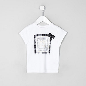 Mini girls white check bow T-shirt