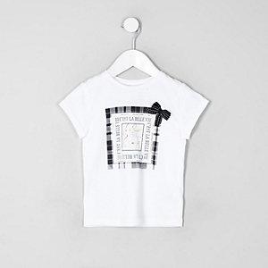 Mini - Wit T-shirt met ruitprint en strik voor meisjes