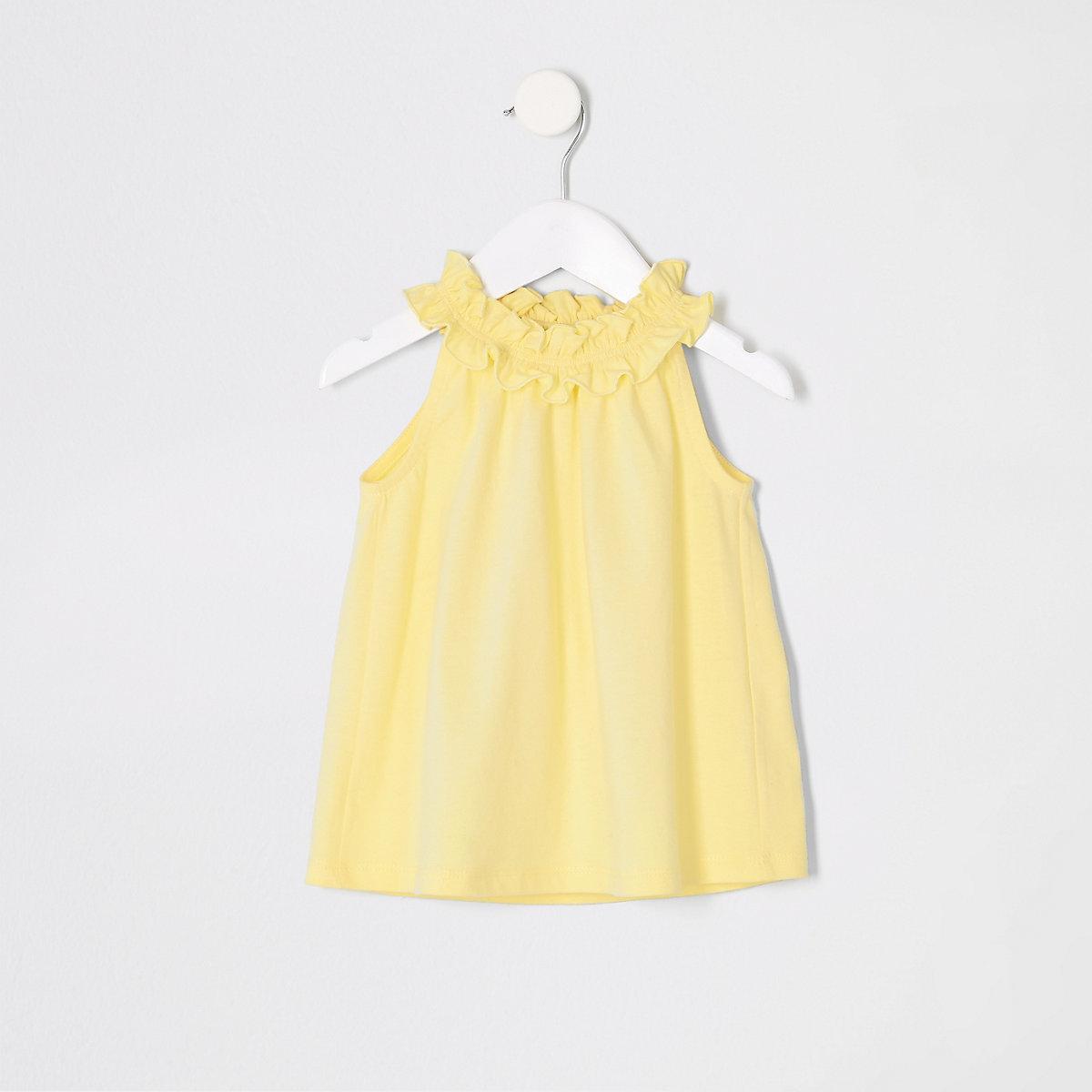 Mini girls yellow trapeze top