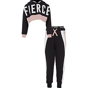Girls RI Active black 'Fierce' hoodie outfit