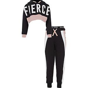 RI Active - Outfit met zwarte hoodie met 'Fierce'-print voor meisjes