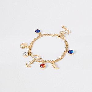 Girls gold tone anchor charm bracelet