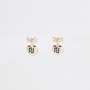 Goudkleurige oorknopjes met RI-logo en strik voor meisjes